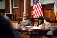 Reacting to Inspector Dennis Fulton as he presents the NYPD point of view for Bill 779, Letitia James Public Advocate for the City of New York, Deborah Rose District 49 - Council Member - Democrat Deputy Majority Leader Chair - Committee on Waterfronts, Margaret Chin was elected to the New York City Council in 2010, as the representative for District 1, lower Manhattan.