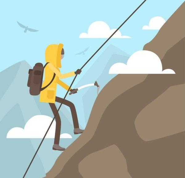 dessin d'un grimpeur sur une montagne