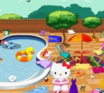 Hello Kitty Cleaning Swimming Pool