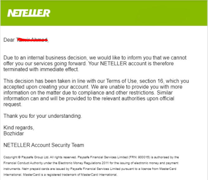 Neteller Account Permanently Closed