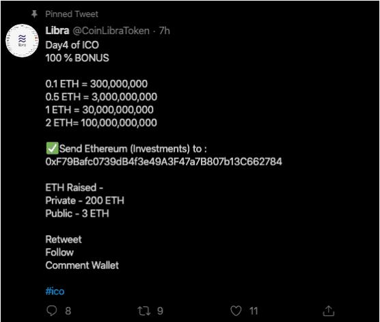 Fake Libra ICO Twitter