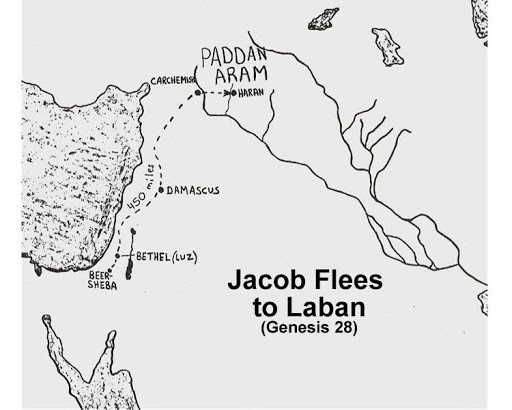 map of jacob fleeing to haran www.atozmomm.com genesis 28
