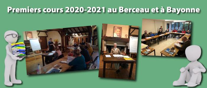 Premiers cours 2020-2021 au Berceau et à Bayonne