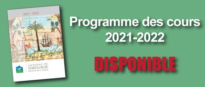 Le programme des cours de 2021-2022 est disponible