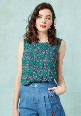 green floral print sleeveless top