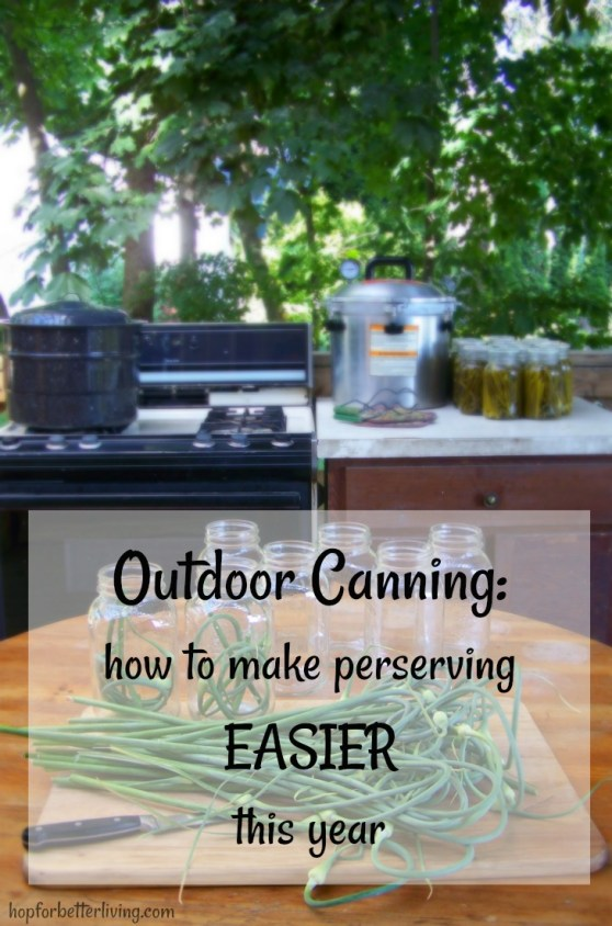 Tired of sticky kitchen floors? Try setting up an outdoor canning kitchen!