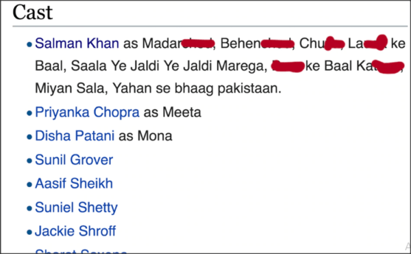 Someone edited Salman Khan bio on wikipedia