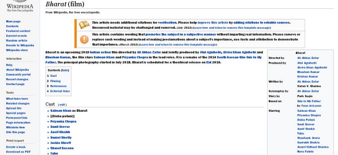 Bharat (Film) Wikipedia Page