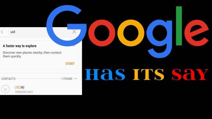 Google's releases Statement (UIDAI)