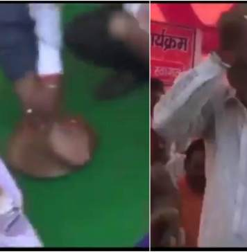 Today a worker of BJP in Jharkhand washes MP's feet and drinks water.