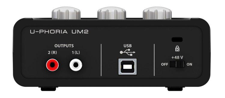 Behringer U-Phoria UM2 audio interface (rear)