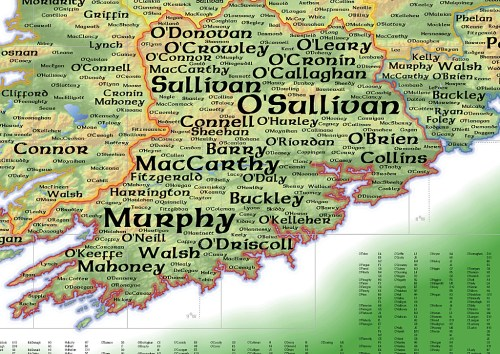 Map of Irish names