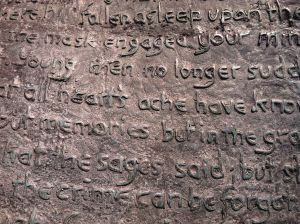 Close-up of some of the lyrics on the Yeats statue.