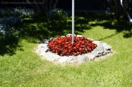 Flag pole flower bed.