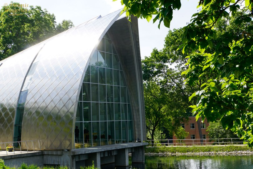 Reflective metal roof of the White Chapel at Rose-Hulman Institute of Technology.