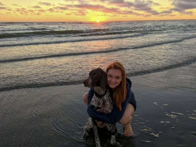Woman hugging brown and white German Shorthaired Pointer during sunset on the beach