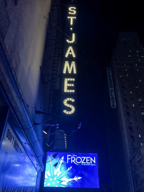 Sign for St James Theatre, playing Frozen