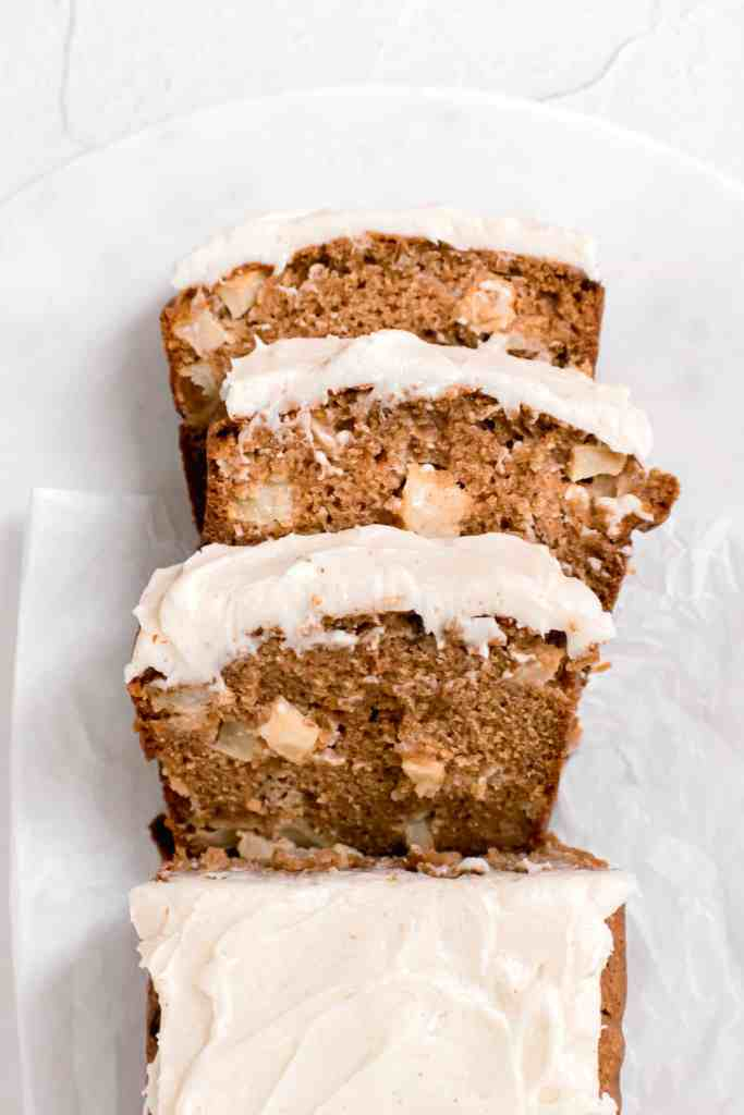 Apple Spice Loaf Cake with Brown Butter Cream Cheese Frosting