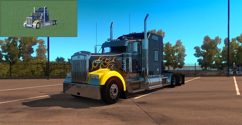 Kenworth W900 Hard Truck 18 Wheels Of Steel Skin V2 Fixed