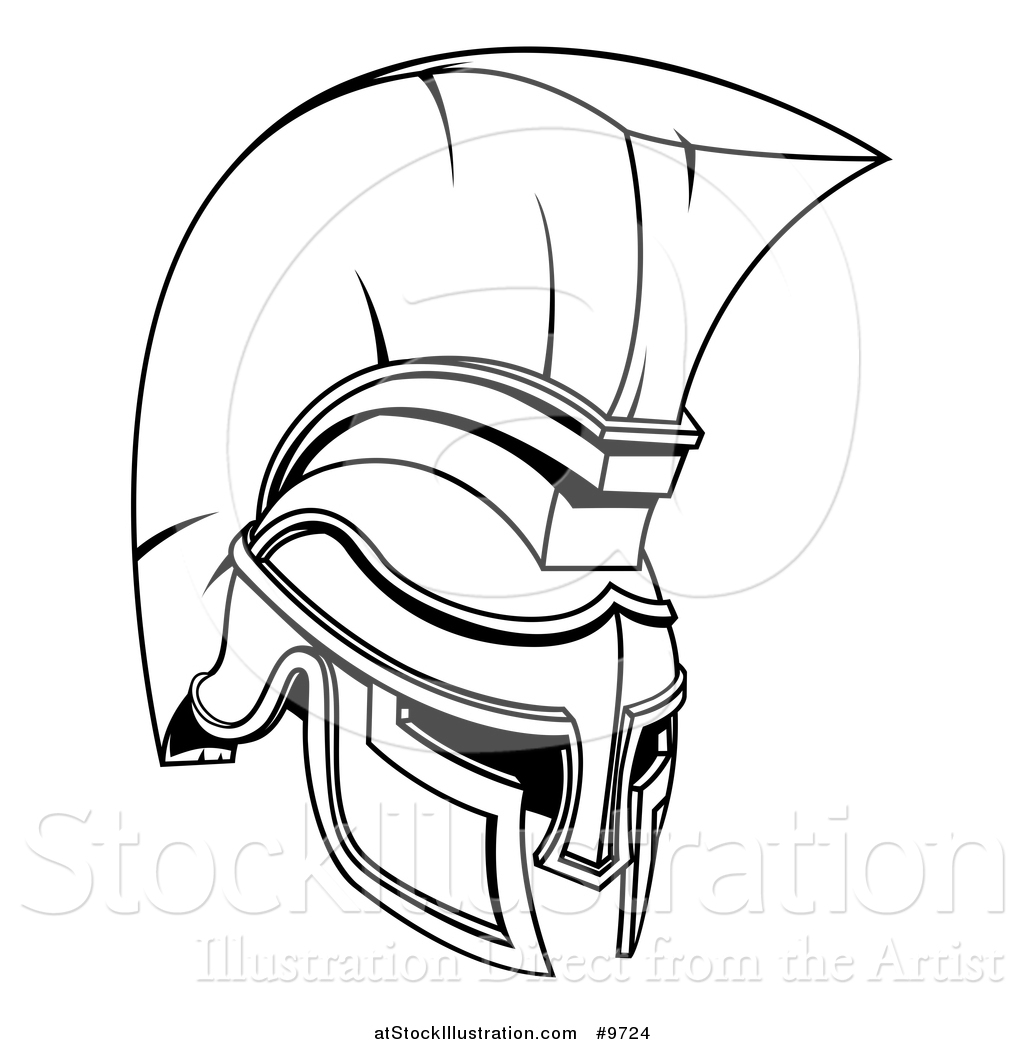 Vector Illustration Of A Black And White Lineart Spartan