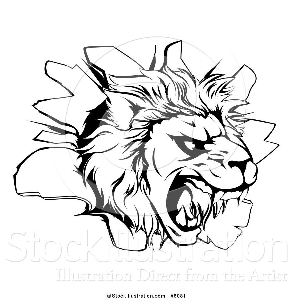 Vector Illustration Of A Black And White Roaring Lion Head