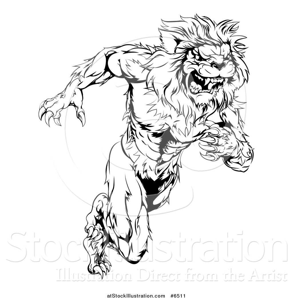 Vector Illustration Of A Black And White Vicious Muscular