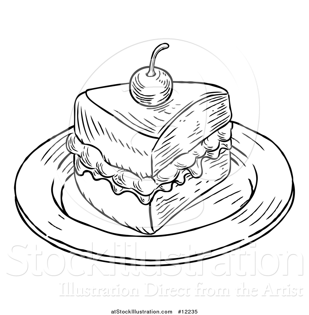 Vector Illustration Of A Piece Of Victoria Sponge Cake In