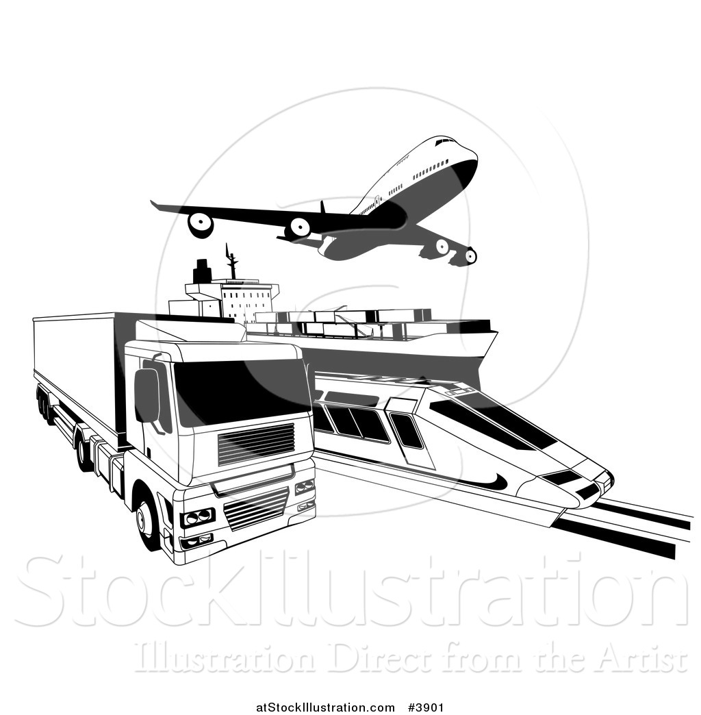Vector Illustration Of Black And White Cargo Logistics