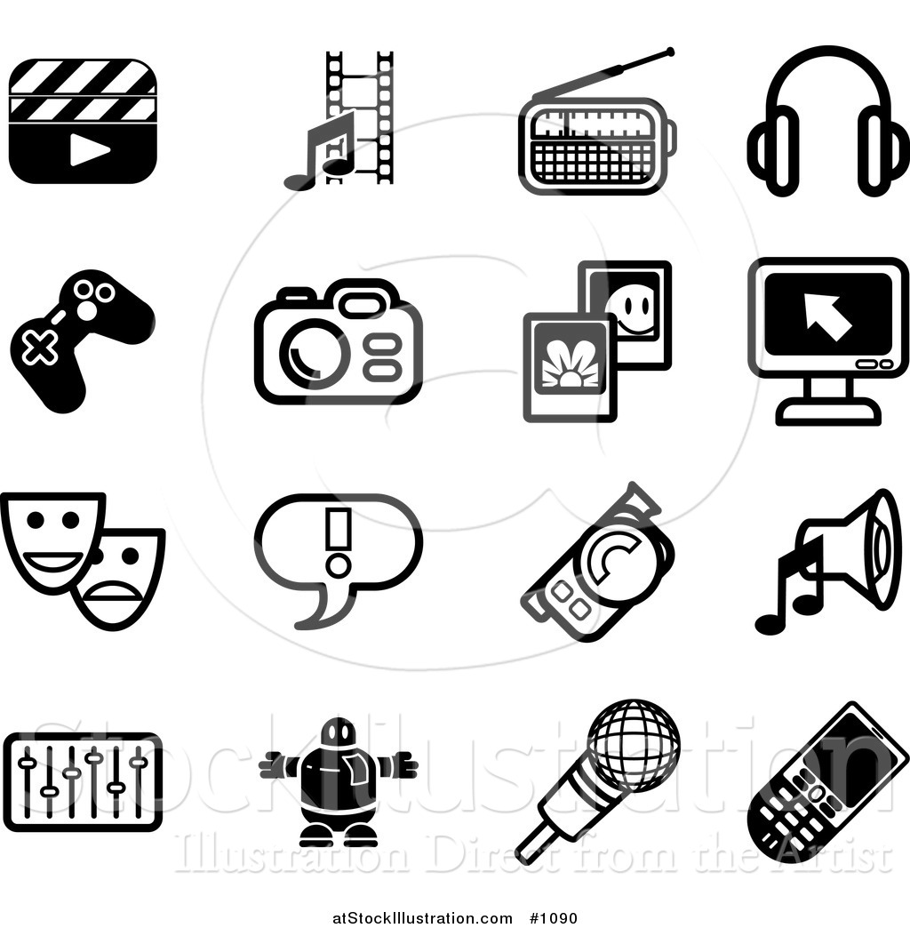 Vector Illustration Of Flat Black And White Icons