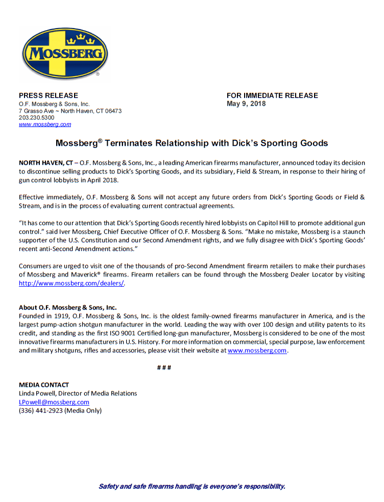 O.F. MOSSBERG & SONS INC TERMINATES RELATIONSHIP WITH DICKS SPORTING GOODS
