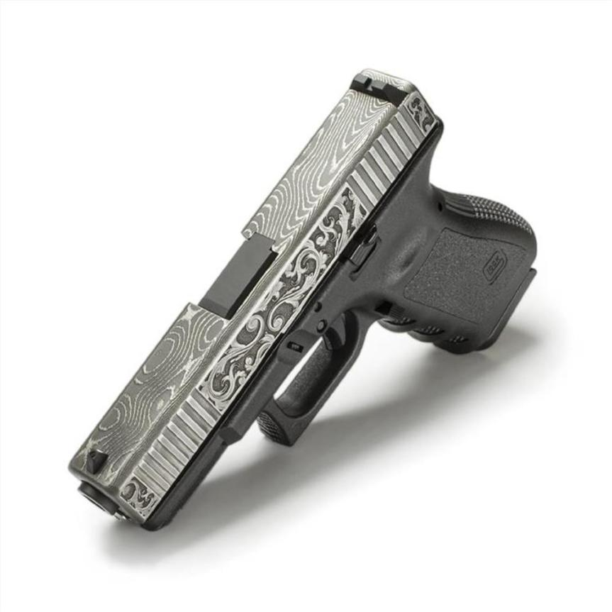 lone wolf distributors damascus slide LWD-G19-Damascus-Eng demascus glock 19 slide custom glock slide scrollwork 2