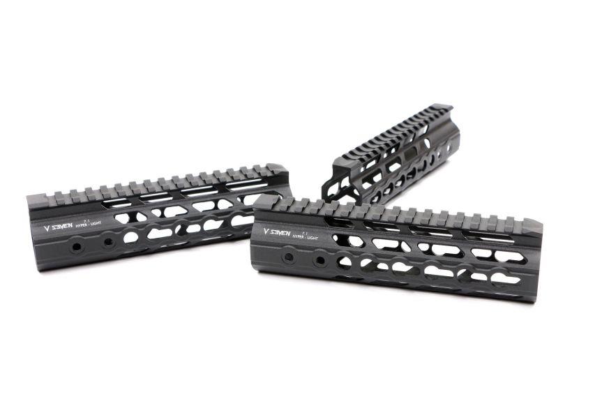 v-seven weapon systems mangesium handguards. HYPLIGHT 7KM 7inch handguard lightest handguard 1