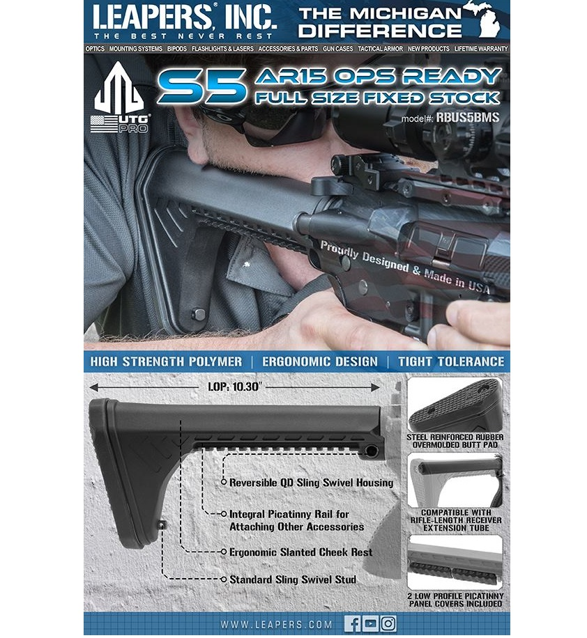 leapers utg pro ar15 ops ready sf ar15 fixed stock m4 stock RBUS5BMS 1