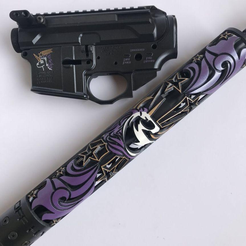 offhand gear unicorn hand guard girl gun pink gun princess gun pink rifle princess rifle unicorn rifle cute ar15 4
