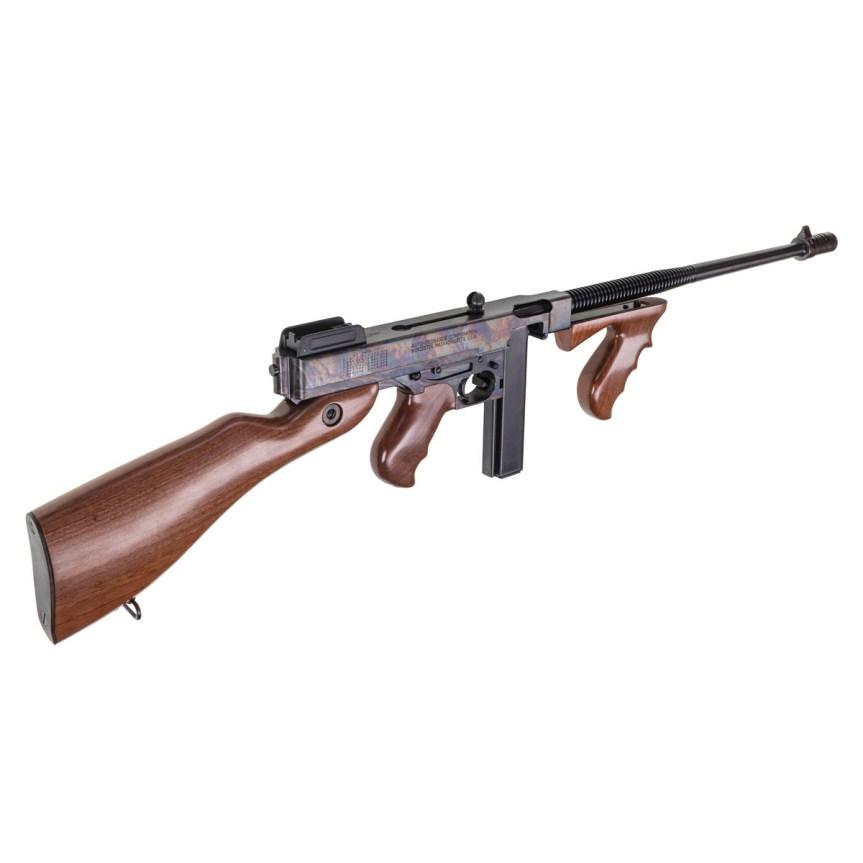 thompson auto ordnance 1927a-1 thompson rifle tommy gun deluxe carbine 45 cal case hardnes rainbow finish gangster gun 3