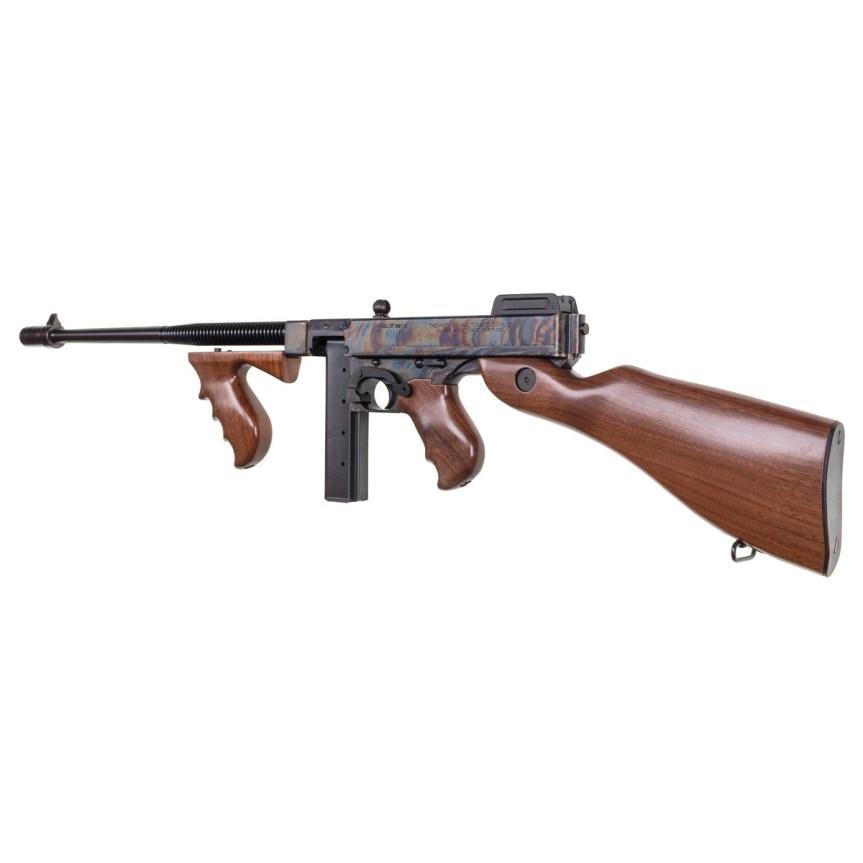 thompson auto ordnance 1927a-1 thompson rifle tommy gun deluxe carbine 45 cal case hardnes rainbow finish gangster gun 4