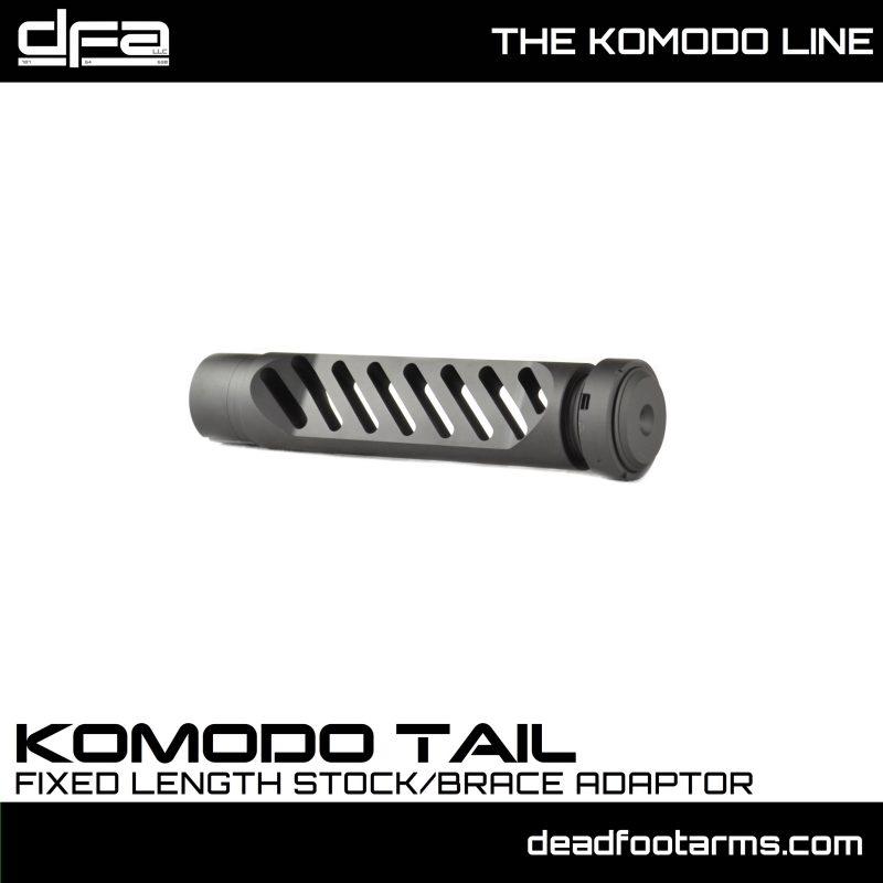 dead foot arms komodo tail hook adapter gear head works tail hook pistol brace onto buffer tube 7