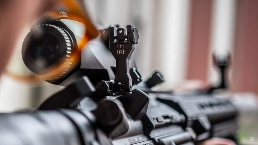 strike industries sidewinder II angled 45 degree buis back up sights for my scope 2