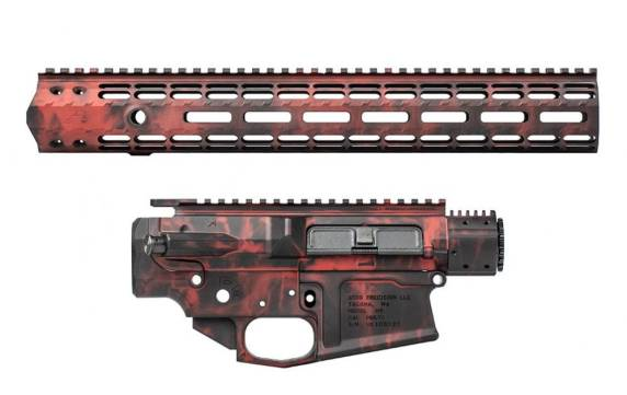 aero precision crimson embers anodized builders sets receiver sets for ar15 dual anodized finish. flame rifle