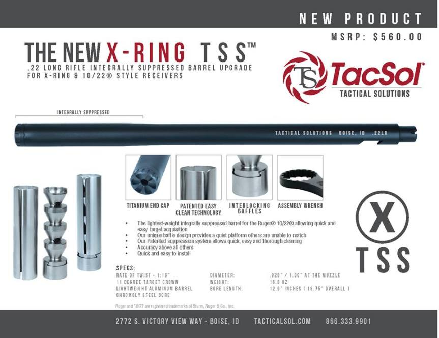 TACTICAL SOLUTIONS ANNOUNCES NEW X-RING INTEGRALLY SPPRESSOR BARRELS 1