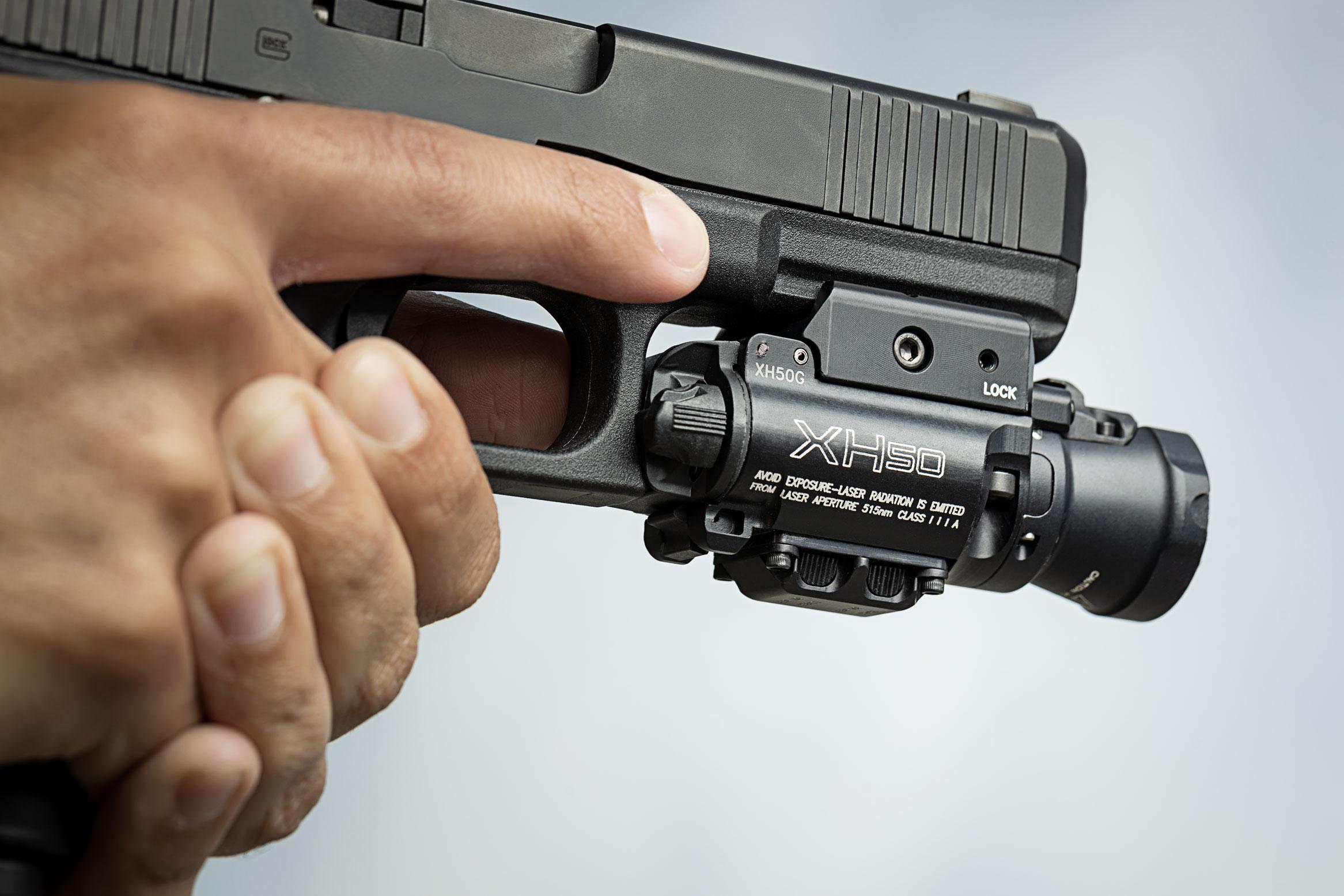 surefire xh50 masterfire weaponlight pistol light and laser green laser