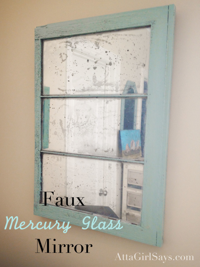 Transform an old window into a mercury glass mirror using Krylon Looking Glass Spray Paint.