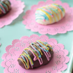 chocolate peanut butter Easter egg drizzled with melted candy
