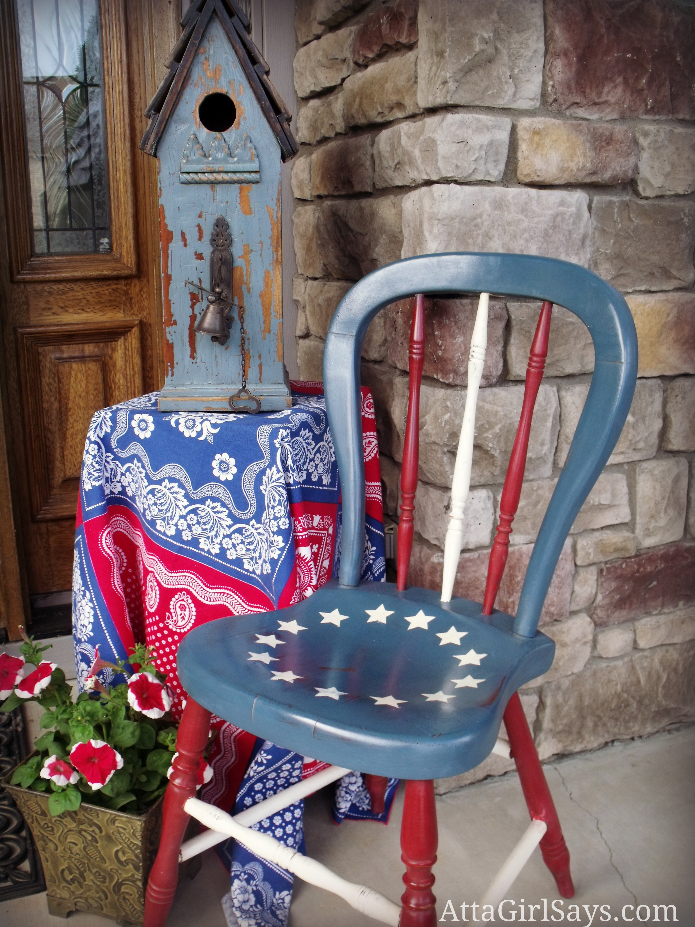 Handpainted Betsy Ross Flag Chair