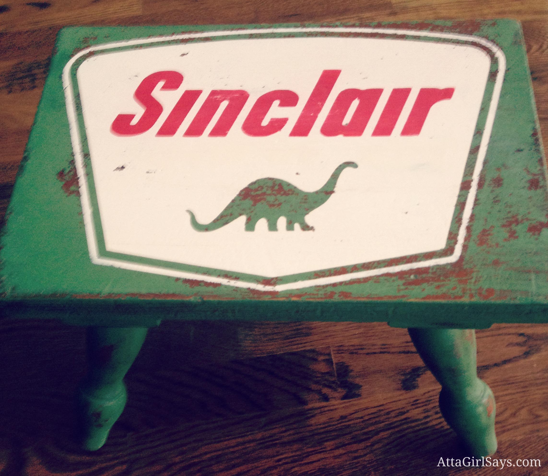 Handpainted Sinclair Oil Dinosaur Stool and Chair