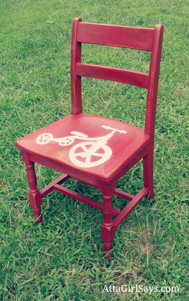Miss Mustard Seed Milk Paint Tricycle Red Chair by AttaGirlSays.com