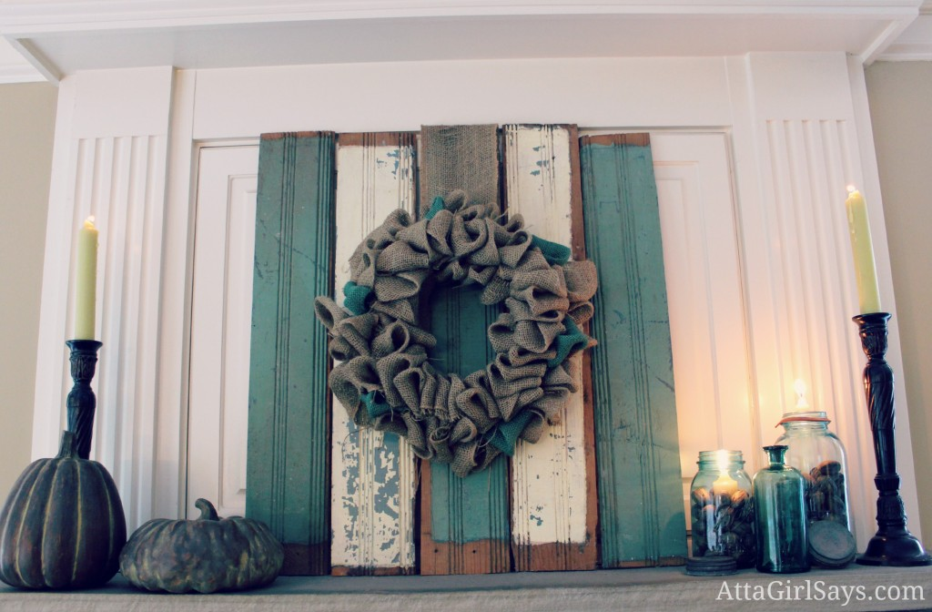 Looking to decorate your mantel for fall? You'll love these fireplace mantel ideas featuring chippy wood, natural elements and shades of aqua and cream.