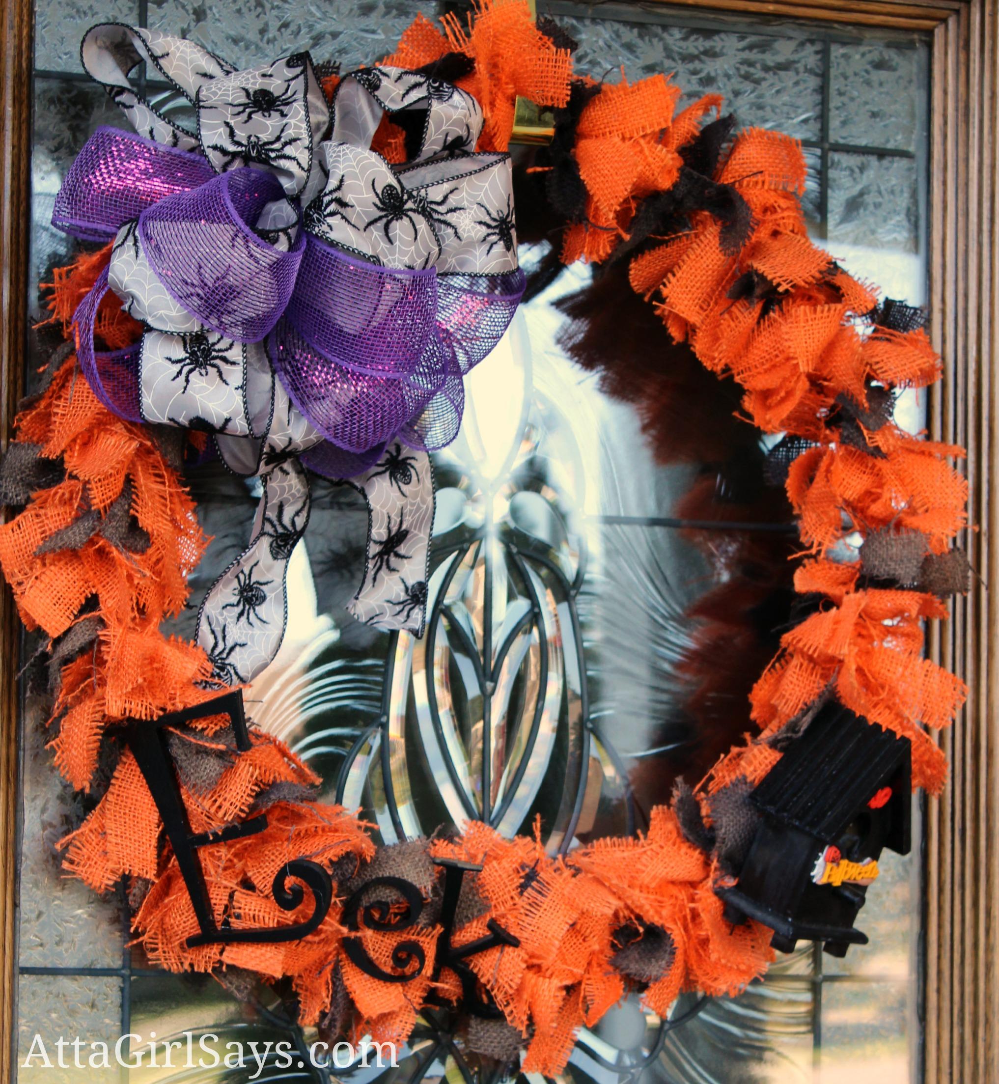 Orange and Black Burlap Halloween Rag Wreath by AttaGirlSays.com