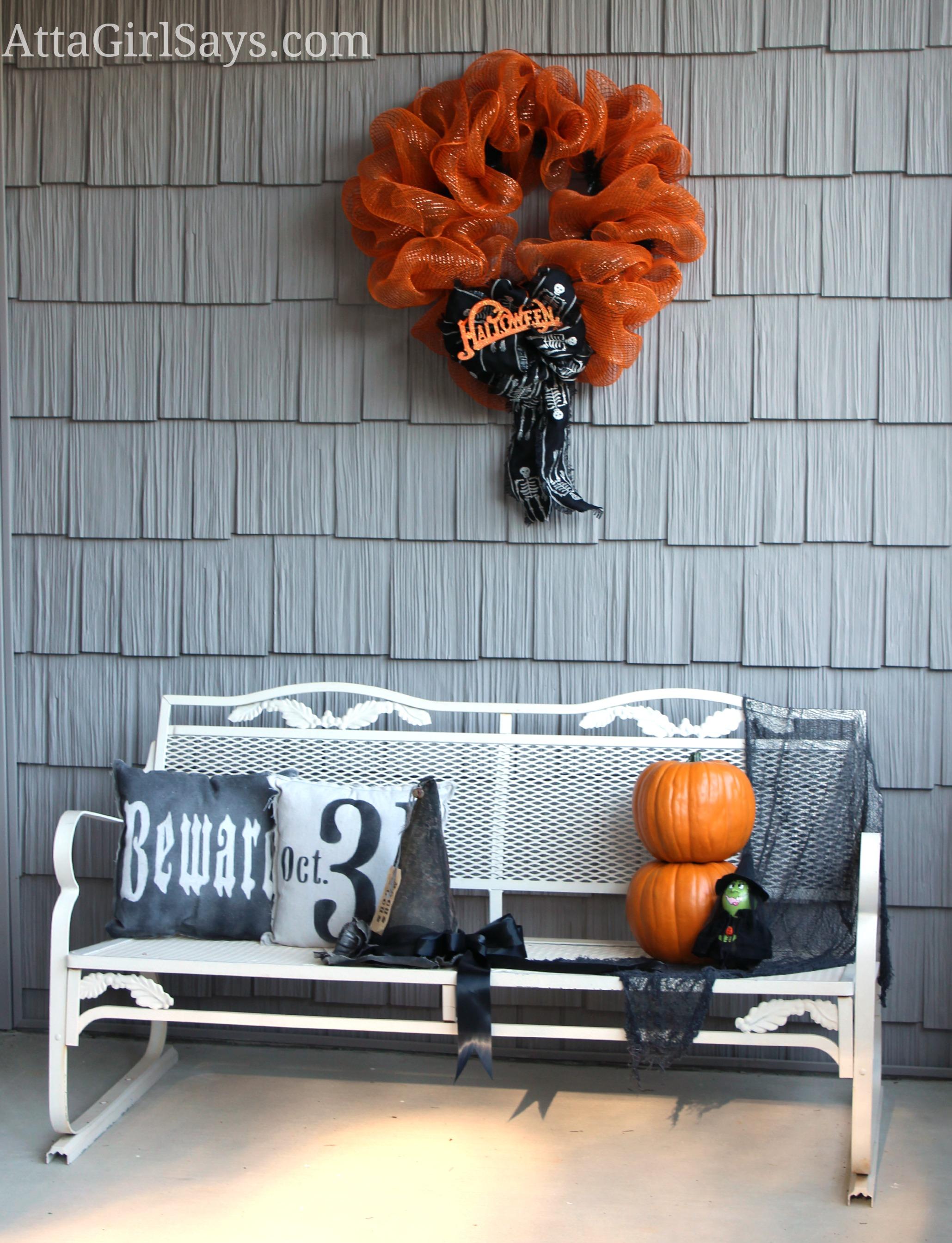 Orange Mesh Halloween Wreath