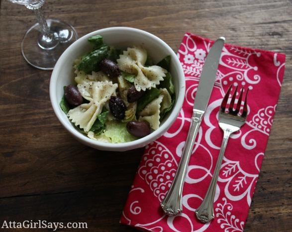 bowl of mediterranean pasta salad